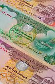 Different Dirham  Banknotes From Emirates On The Table