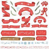 New year ribbons, badges,winter decor set