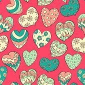 hand drawn colorful hearts
