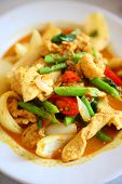 stock photo of curry chicken  - close up shot of Thai chicken curry - JPG