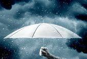 Umbrella in hand under raindrops