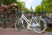 White Bicycle In Amsterdam