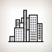 Silhouette Modern Buildings On A Light Background, Vector Illustration