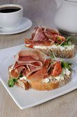Sandwich Of Jamon With Ricotta, Arugula And Cheese