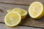 fresh sliced lemon on the wooden table