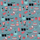 Seamless pattern with cosmetics