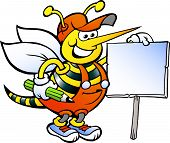 Hand-drawn Vector Illustration Of An Happy Working Bee Holding A Sign