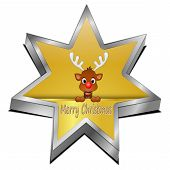 Reindeer wishing Merry Christmas star Button