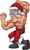 Strong cartoon Santa Claus. Vector clip art illustration with simple gradients. All in a single layer.