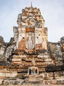 Old Buddha Statue In Sukhothai Northern Of Thailand