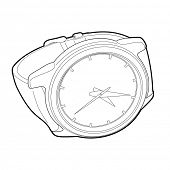 outline wristwatch on white background