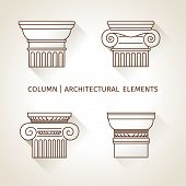 Brown Linear Icons Columns. Flat With Long Shadows. Elements Of A Corporate Logo. Vector Set