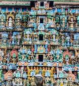 picture of tamil  - Details of exquisite colorful sculpture on tower Jambkeshwara Temple Tiruchirapalli Tamil Nadu India Asia - JPG