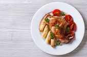 Delicious Grilled Rabbit Leg With Apples Horizontal Top View