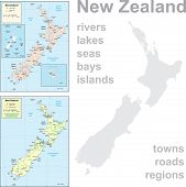 Detailed views of New Zealand.