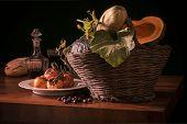 Vegetables and fruits Italian season, autumn