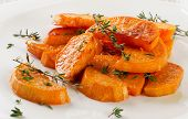 Baked Sweet Potato Wedges On  White Plate