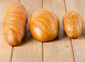 White Bread On   Wooden Board.