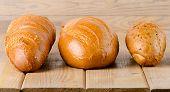 Fresh Baked  White Bread On   Wooden Board.