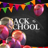 back to school. educational illustration with blackboard texture