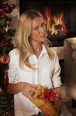 Pretty Caucasian Woman In Christmas Interior