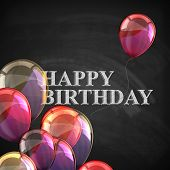 colorful poster with balloons and chalk letters on blackboard background. happy birthday