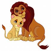 Leeuw en cub samen