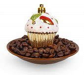 Christmas Toy Cake On Coffee Beans In A Bowl