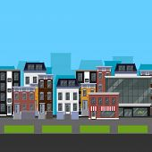 Flat design urban landscape. illustration of a street with different buildings