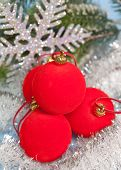 New Year's red balls and decorative snowflake