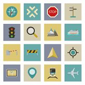 Gps And Navigation Flat Icons Set