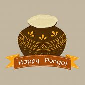 South Indian harvesting festival, Happy Pongal celebrations with sugarcane, kites, wheat grain and rice in floral decorated traditional mud pot on stylish  background.