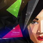 illustration with an asian woman face in polygonal style. modern poster with fashion, beauty or ente