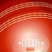 Cricket 2015 text on red cricket ball background.