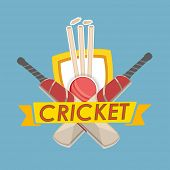 Winning shield, cricket bat, ball, wicket stump and ribbon on blue background.