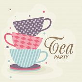 Tea Party celebration Invitation card with tea cups and plate.