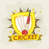 Winning shield with bat, ball, wicket stump and text for sports of cricket concept on creative background.