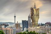 Macau, China skyline of casino hotels.