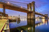 Brooklyn Bridge spanning the East River from Manhattan to Brooklyn in New York City, USA.