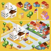 Yellow environment isometric. vector illustration