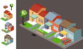 isometric Night neighbourhood. vector illustration