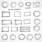 Set of Hand Drawn Isolated Scribble Design Elements