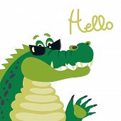 Cute crocodile says hello