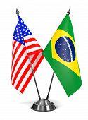 USA and Brazil - Miniature Flags