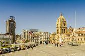LA PAZ, BOLIVIA, MAY 8, 2014: Plaza San Francisco and Basilica San Francisco