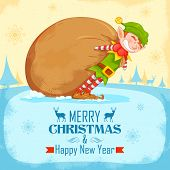 illustration of Elf dragging sack full of Christmas gifts
