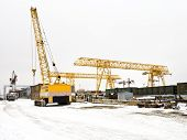 Landscape With Different Cranes In Storage Area