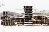 Construction Steel Beams In Outdoor Warehouse