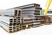 Steel Beams In Outdoor Warehouse
