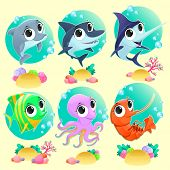 Funny marine animals with backgrounds. Vector cartoon illustration